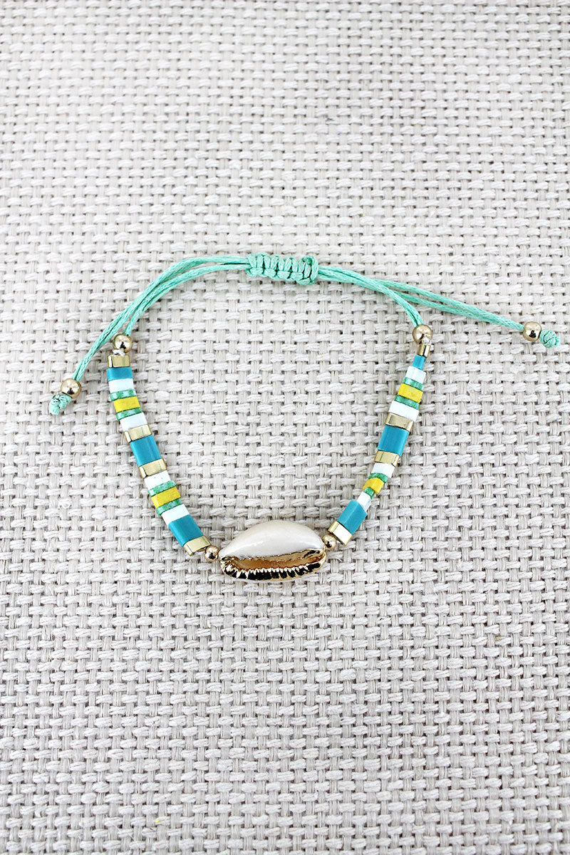 Mint Tile Bead Cowrie Shell Adjustable Cord Bracelet