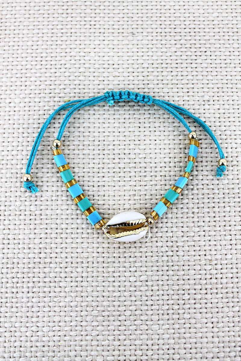 Turquoise Tile Bead Cowrie Shell Adjustable Cord Bracelet
