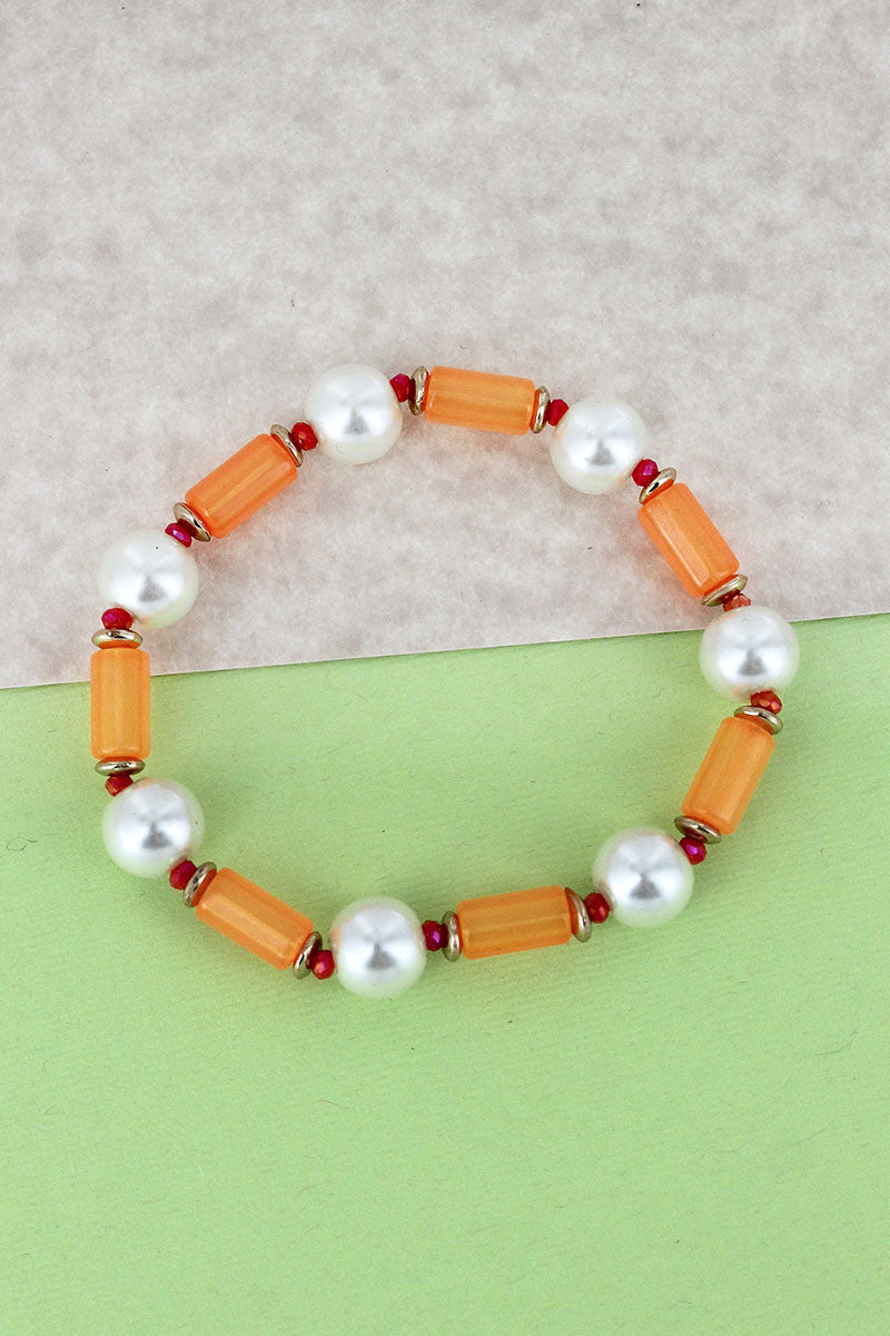 Orange Tube and Pearl Beaded Stretch Bracelet