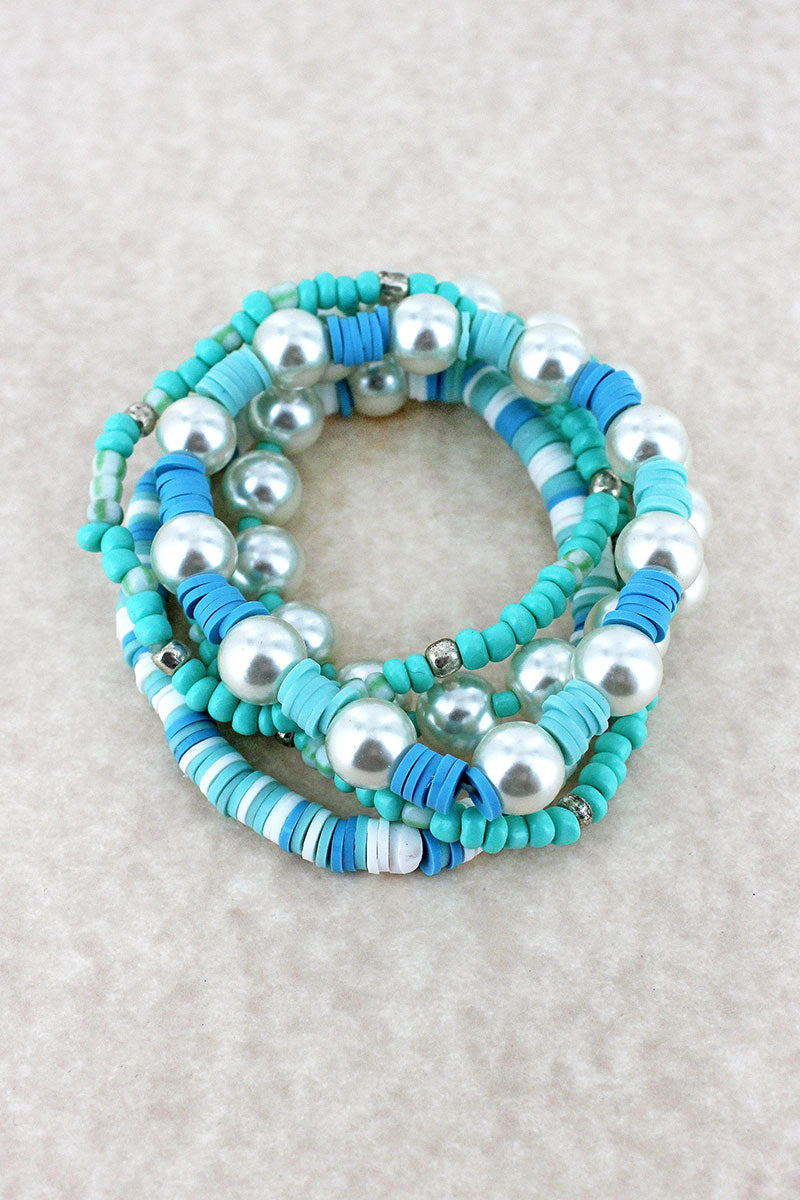 Blue Seed Bead, Vinyl Disk, and Pearl Bracelet Set