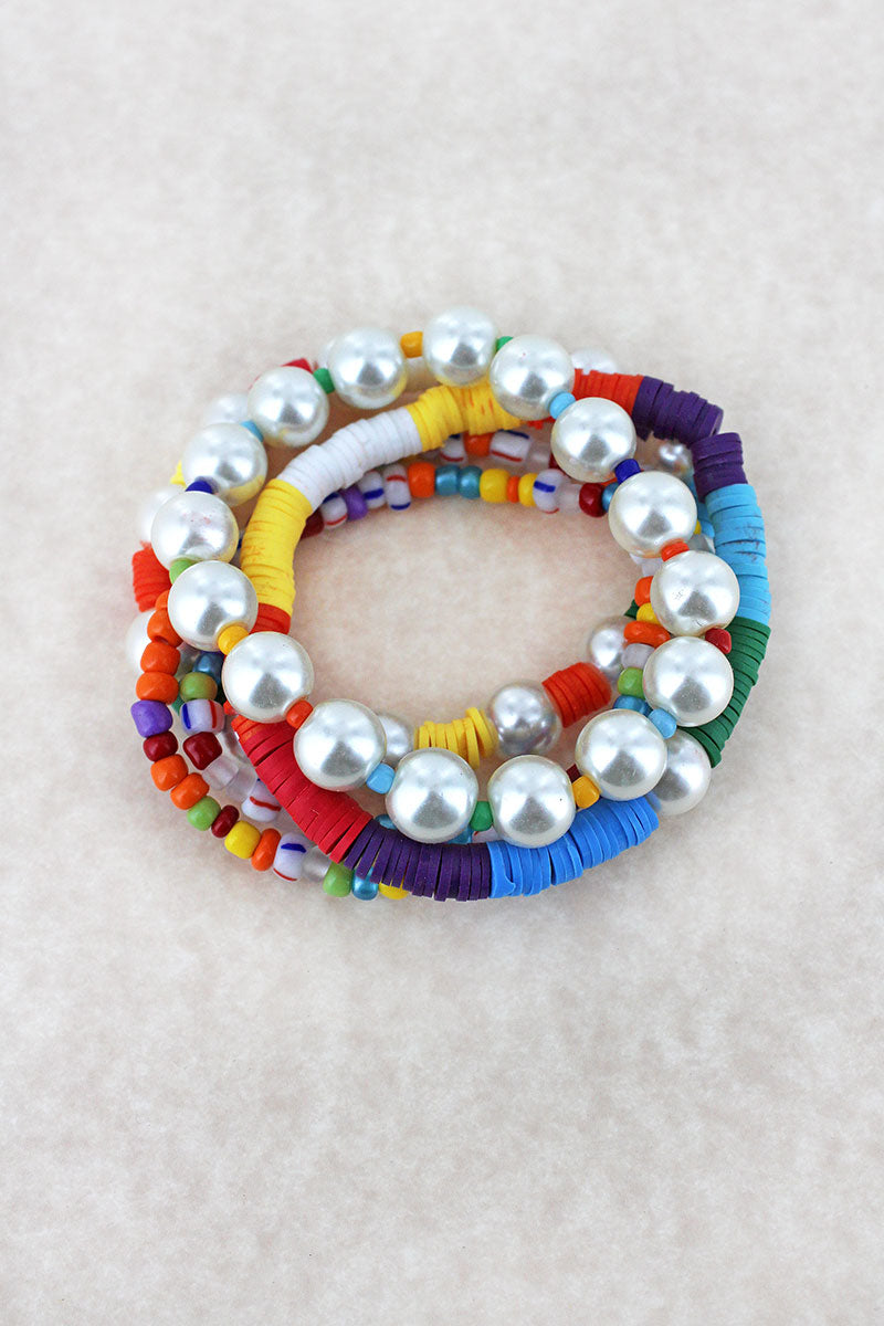 Multi-Color Seed Bead, Vinyl Disk, and Pearl Bracelet Set