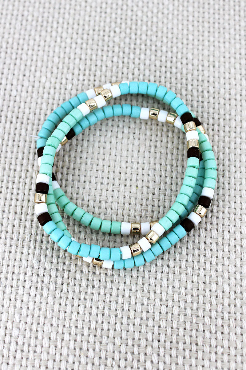 Mint Multi-Color Beaded Bracelet Trio
