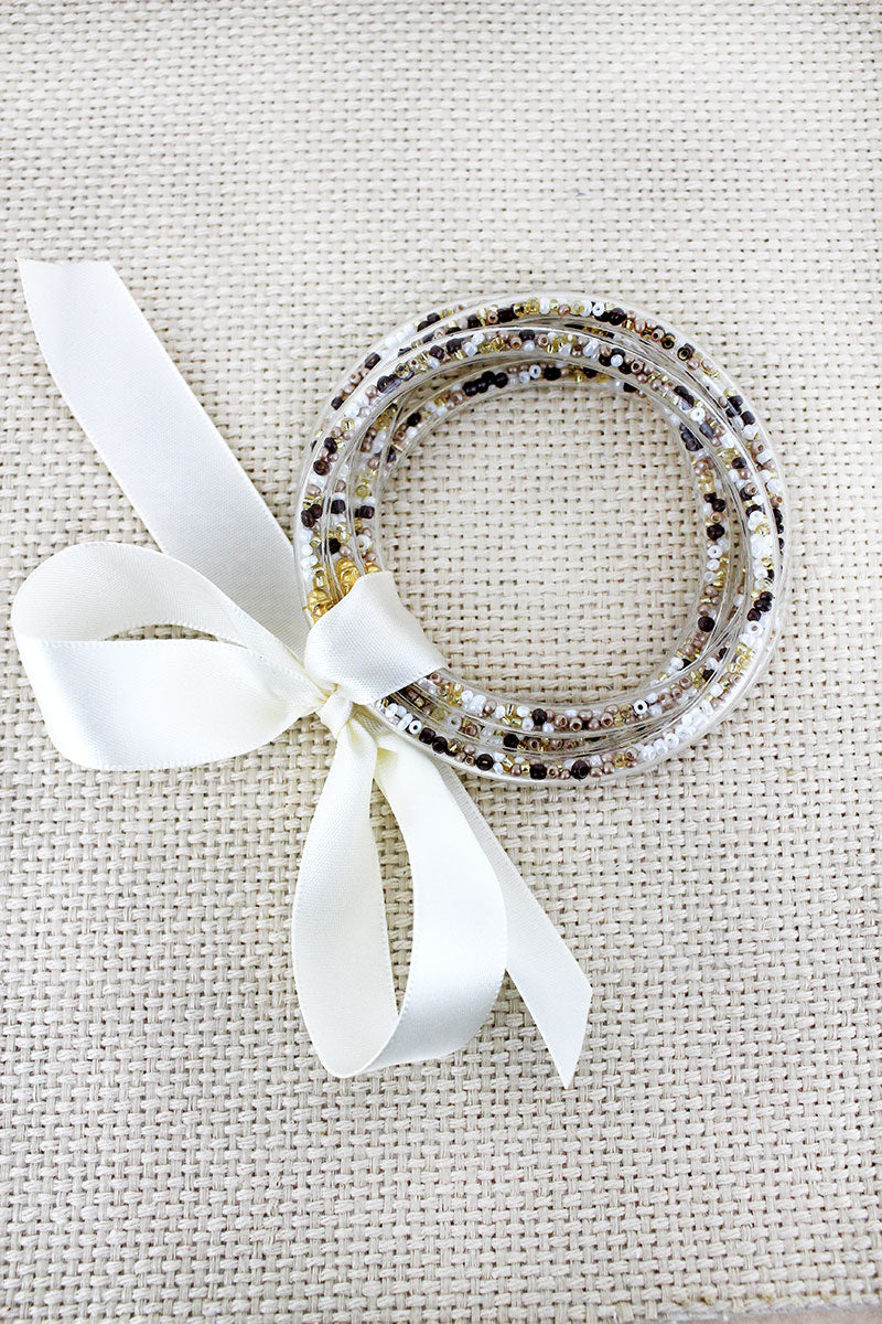 Ivory Seed Bead Jelly Tube Bracelet Set