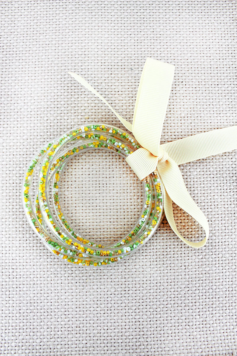 Light Green & Yellow Seed Bead Jelly Tube Bracelet Set