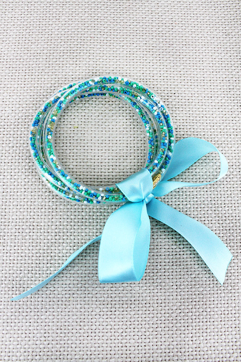 Mint Seed Bead Jelly Tube Bracelet Set