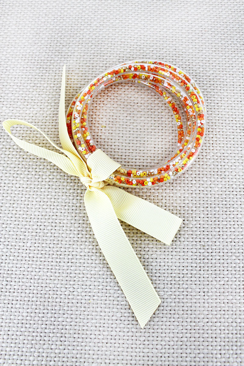Orange Seed Bead Jelly Tube Bracelet Set