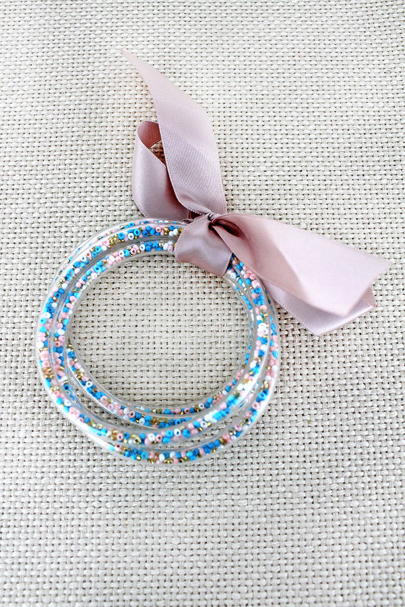 Pink & Blue Seed Bead Jelly Tube Bracelet Set