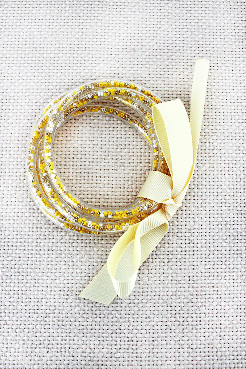 Yellow Seed Bead Jelly Tube Bracelet Set