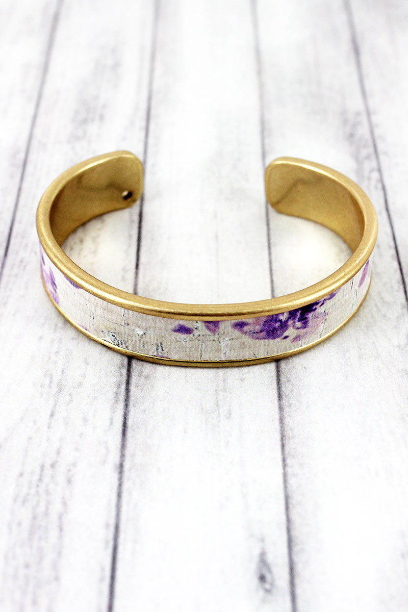 Lavender Watercolor Splatter Cork and Goldtone Cuff Bracelet