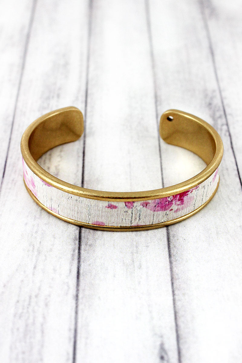 Pink Watercolor Splatter Cork and Goldtone Cuff Bracelet