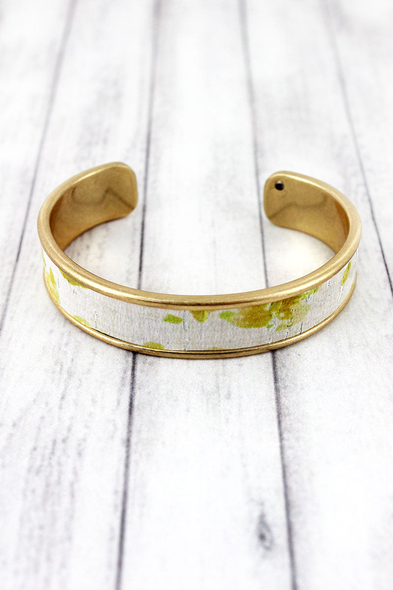 Yellow Watercolor Splatter Cork and Goldtone Cuff Bracelet