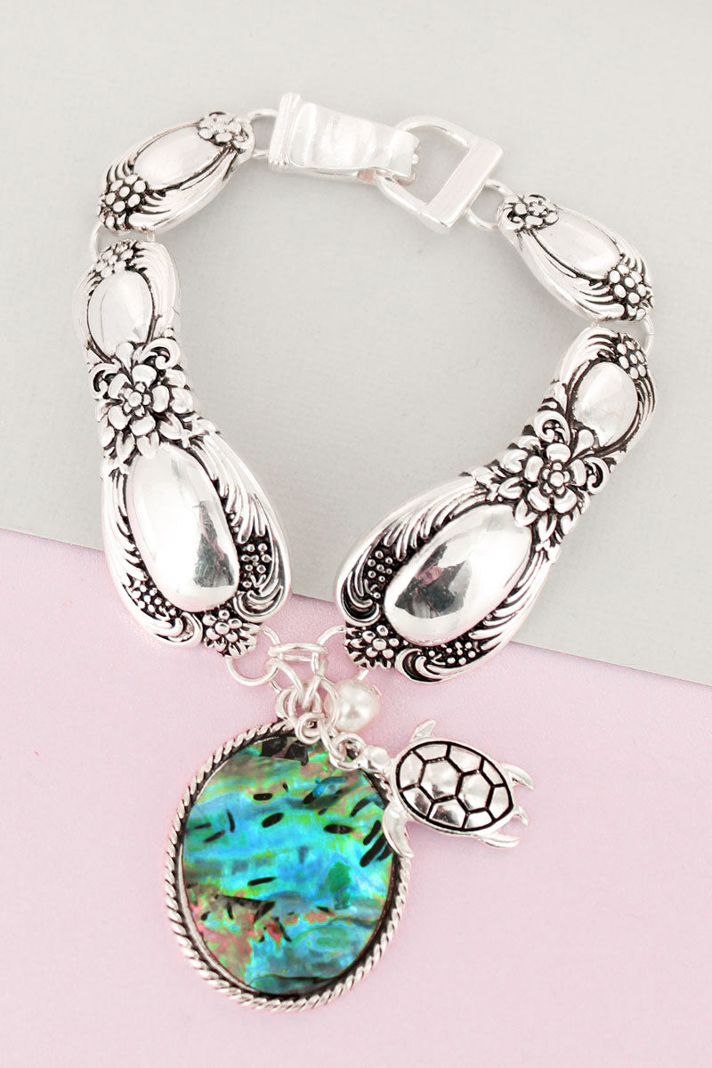 Abalone Oval and Silvertone Turtle Charm Magnetic Spoon Bracelet
