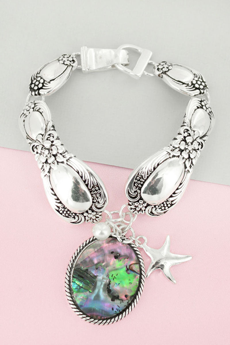 Abalone Oval and Silvertone Starfish Charm Magnetic Spoon Bracelet