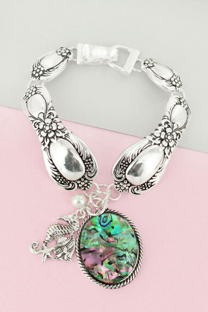 Abalone Oval and Silvertone Sea Life Charm Magnetic Spoon Bracelet