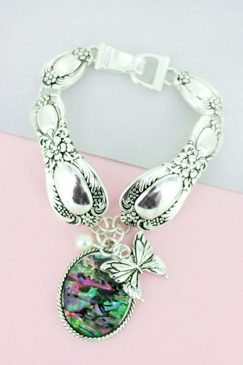 Abalone Oval and Silvertone Butterfly Charm Magnetic Spoon Bracelet