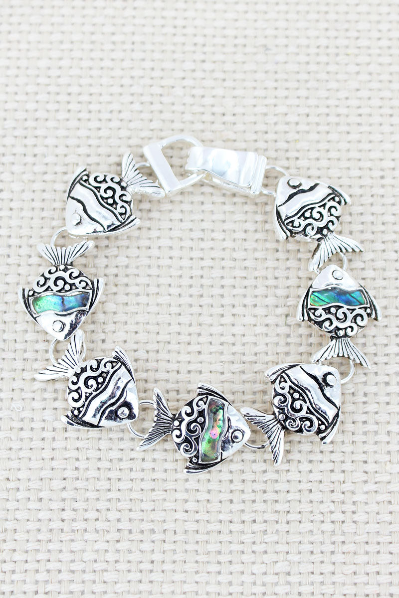 Silvertone Scroll and Abalone Tropical Fish Magnetic Bracelet
