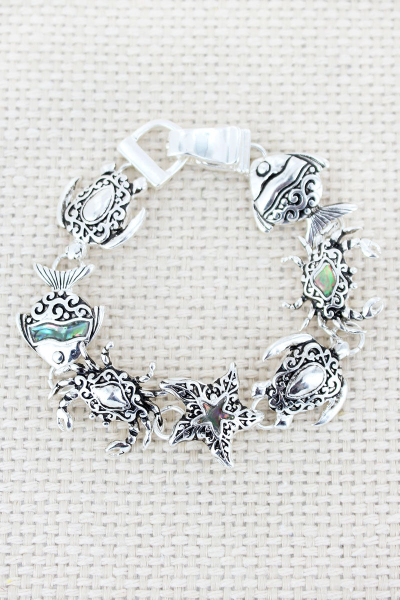 Silvertone Scroll and Abalone Sea Life Magnetic Bracelet