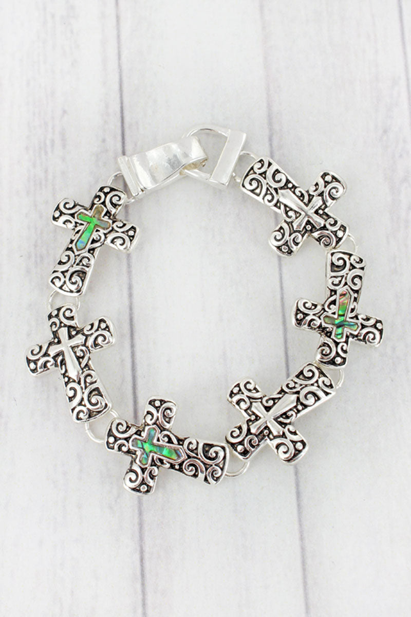 Silvertone Scroll and Abalone Cross Magnetic Bracelet