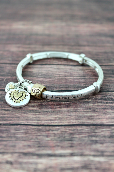 Worn Two-Tone 1 Corinthians 13:4 Stretch Bracelet with Charms