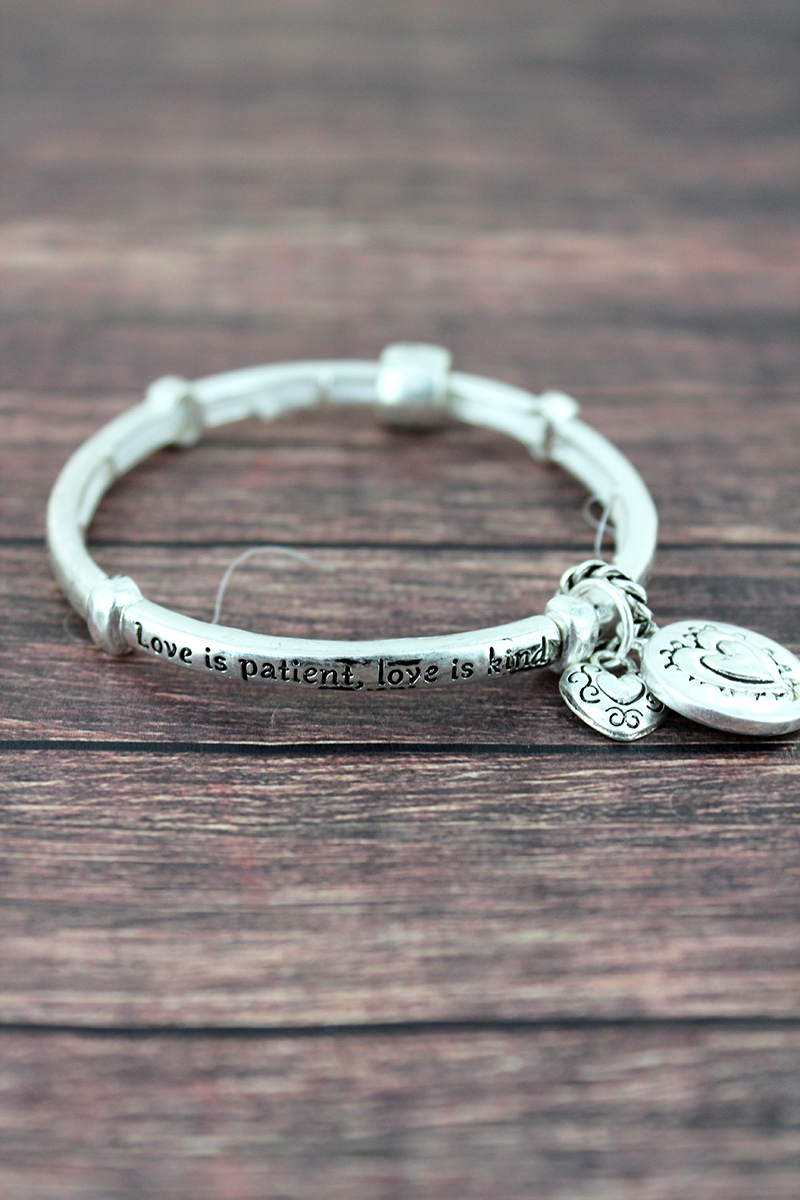 Worn Silvertone 1 Corinthians 13:4 Stretch Bracelet with Charms
