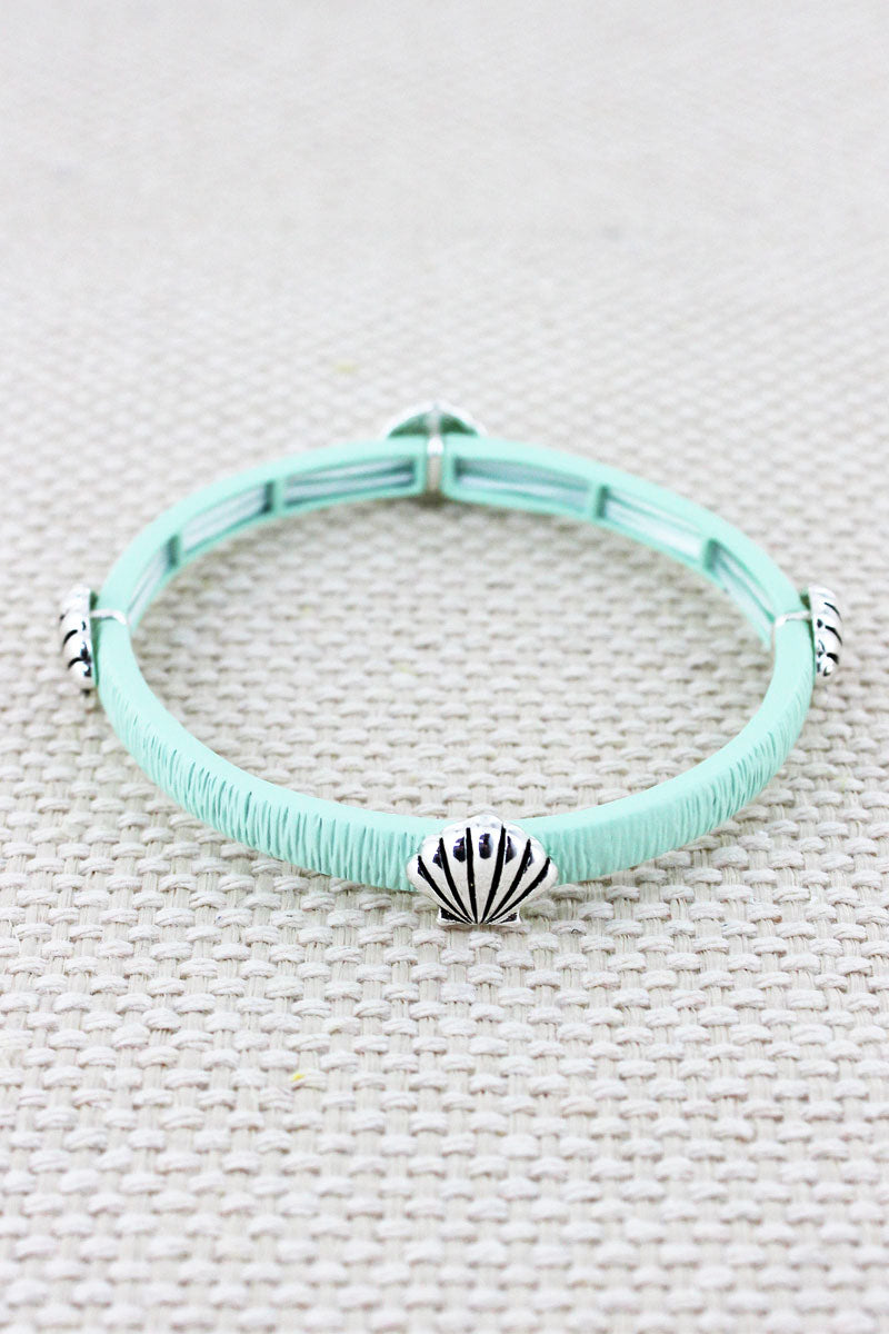 Mint and Silvertone Seashell Stretch Bracelet