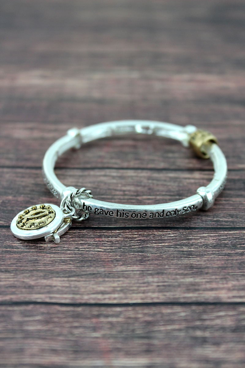 Worn Two-Tone John 3:16 Stretch Bracelet with Charms