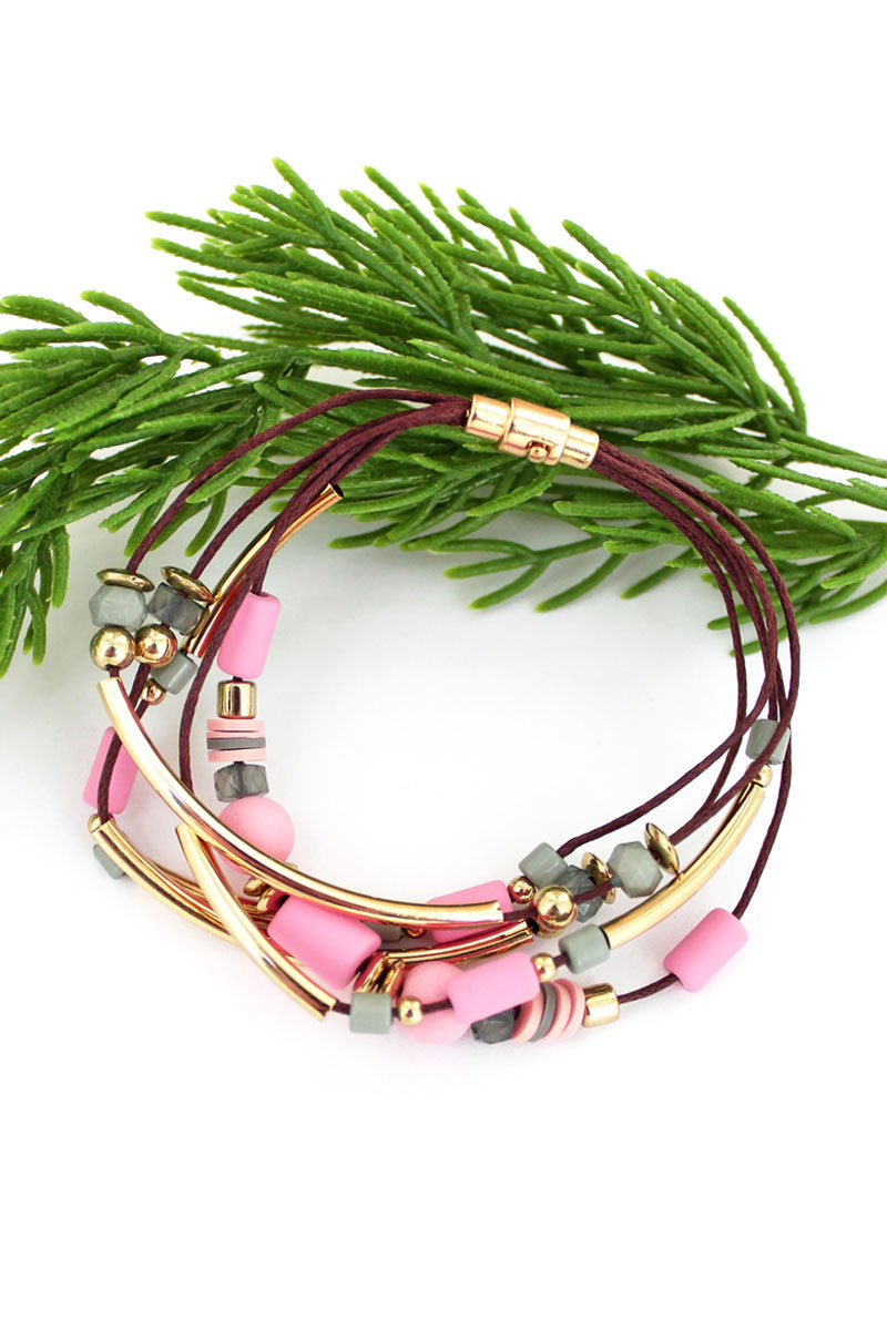 Goldtone Bar and Pink Bead Multi-Cord Magnetic Bracelet