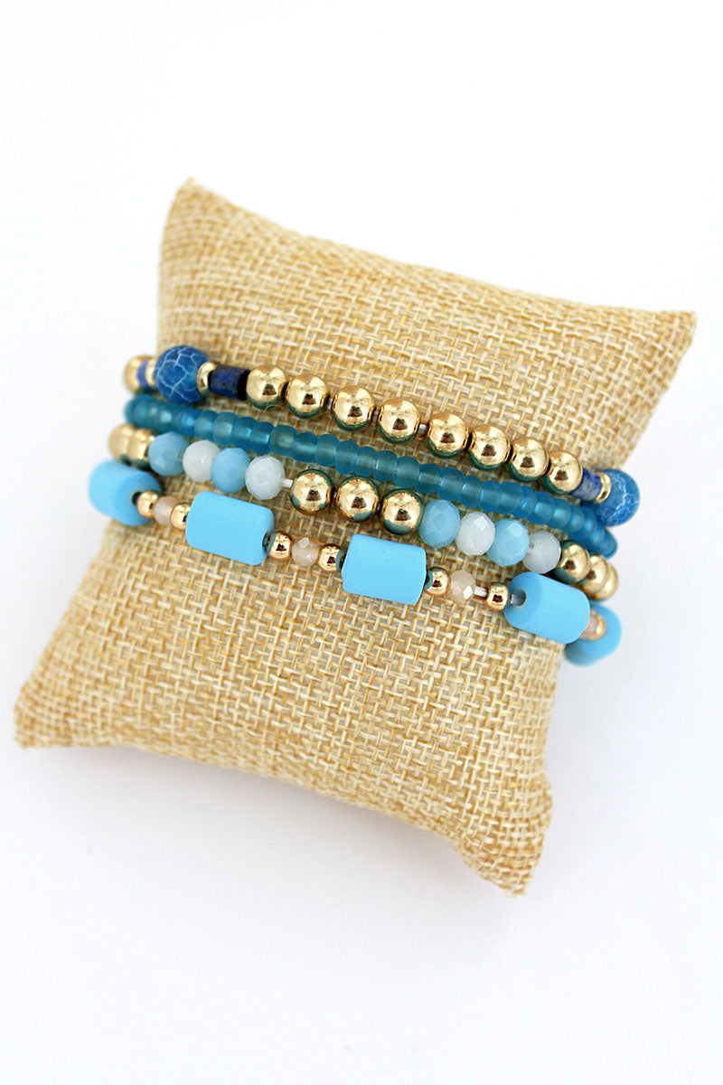 Blue and Goldtone Bead Medley Bracelet Set