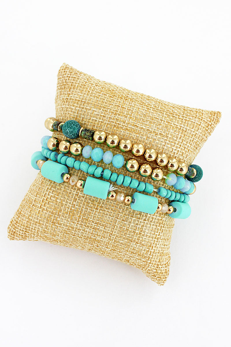 Mint and Goldtone Bead Medley Bracelet Set