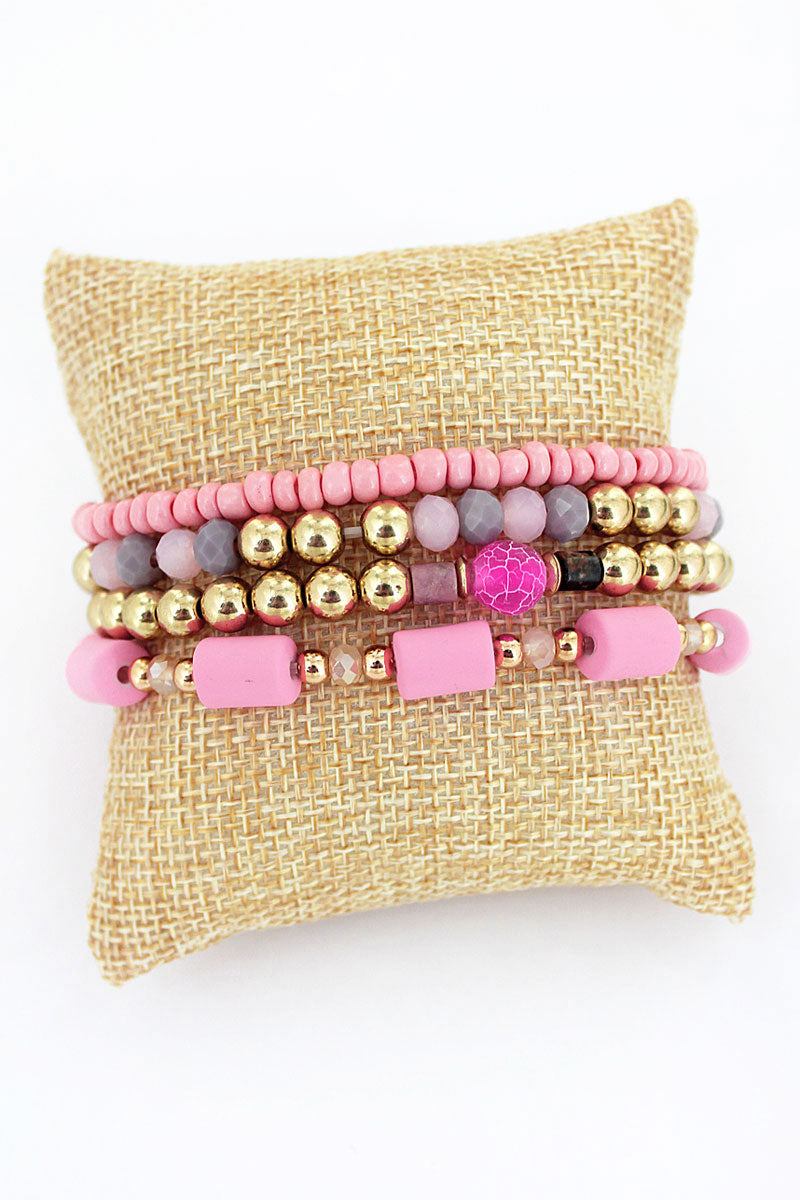 Pink and Goldtone Bead Medley Bracelet Set
