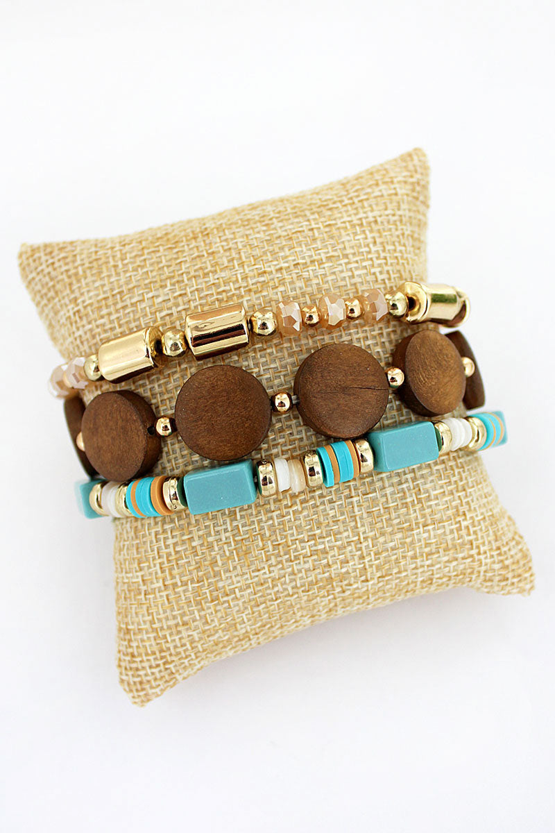 Wood Disk and Mint Mixed Bead Bracelet Set