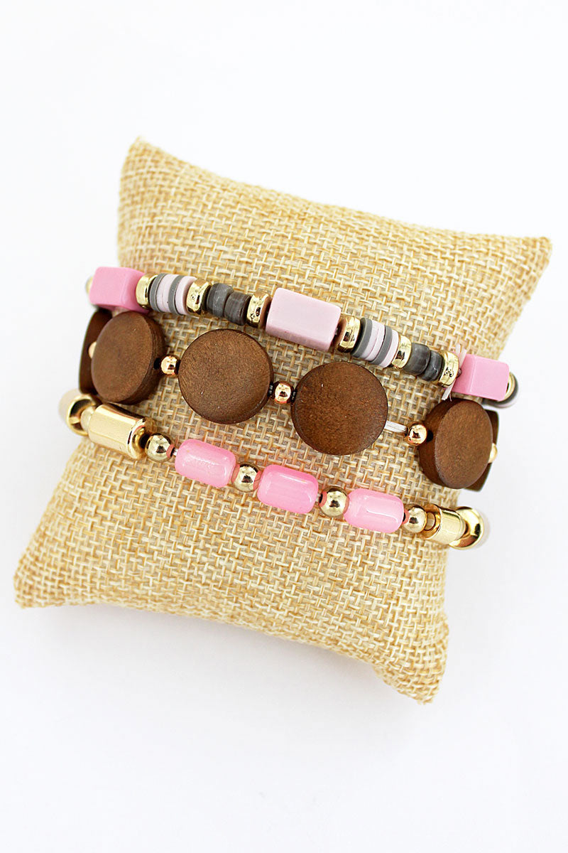 Wood Disk and Pink Mixed Bead Bracelet Set