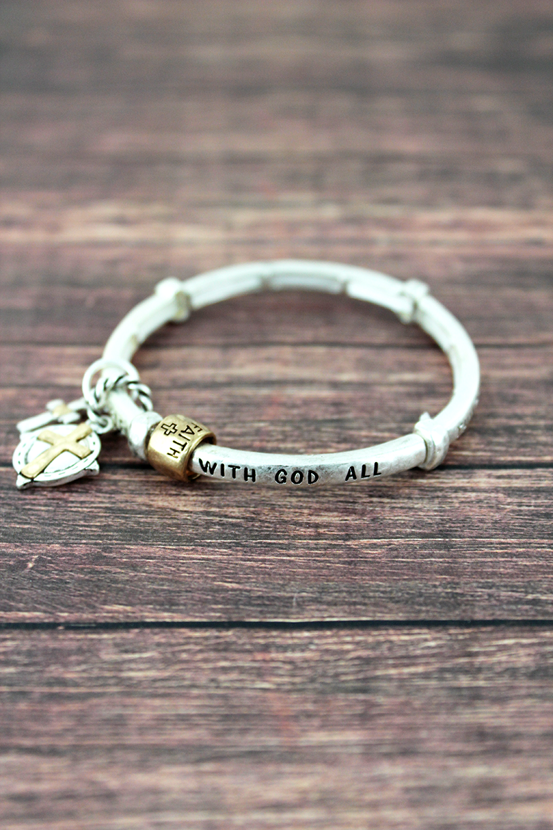 Worn Two-Tone Matthew 19:26 Stretch Bracelet with Charms