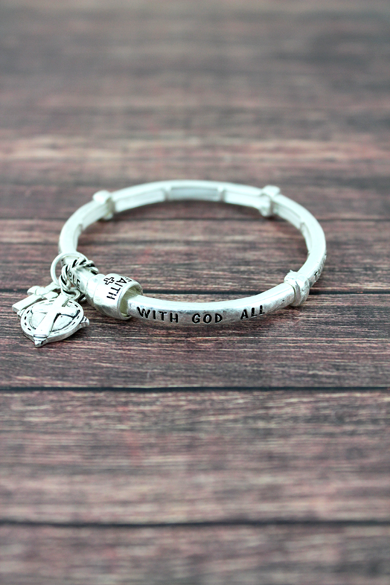 Worn Silvertone Matthew 19:26 Stretch Bracelet with Charms