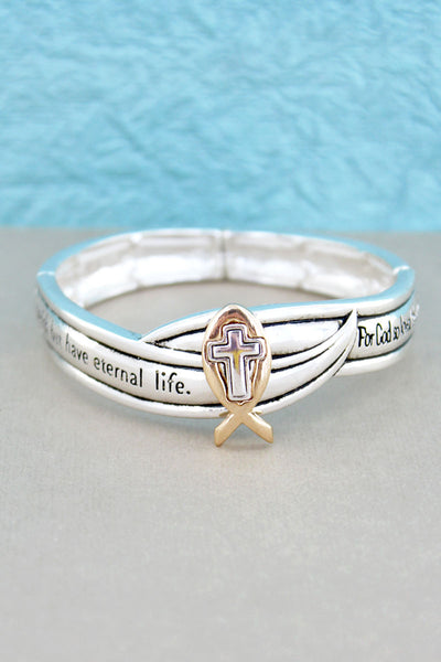 Two-Tone Ichthys Cross John 3:16 Stretch Bracelet