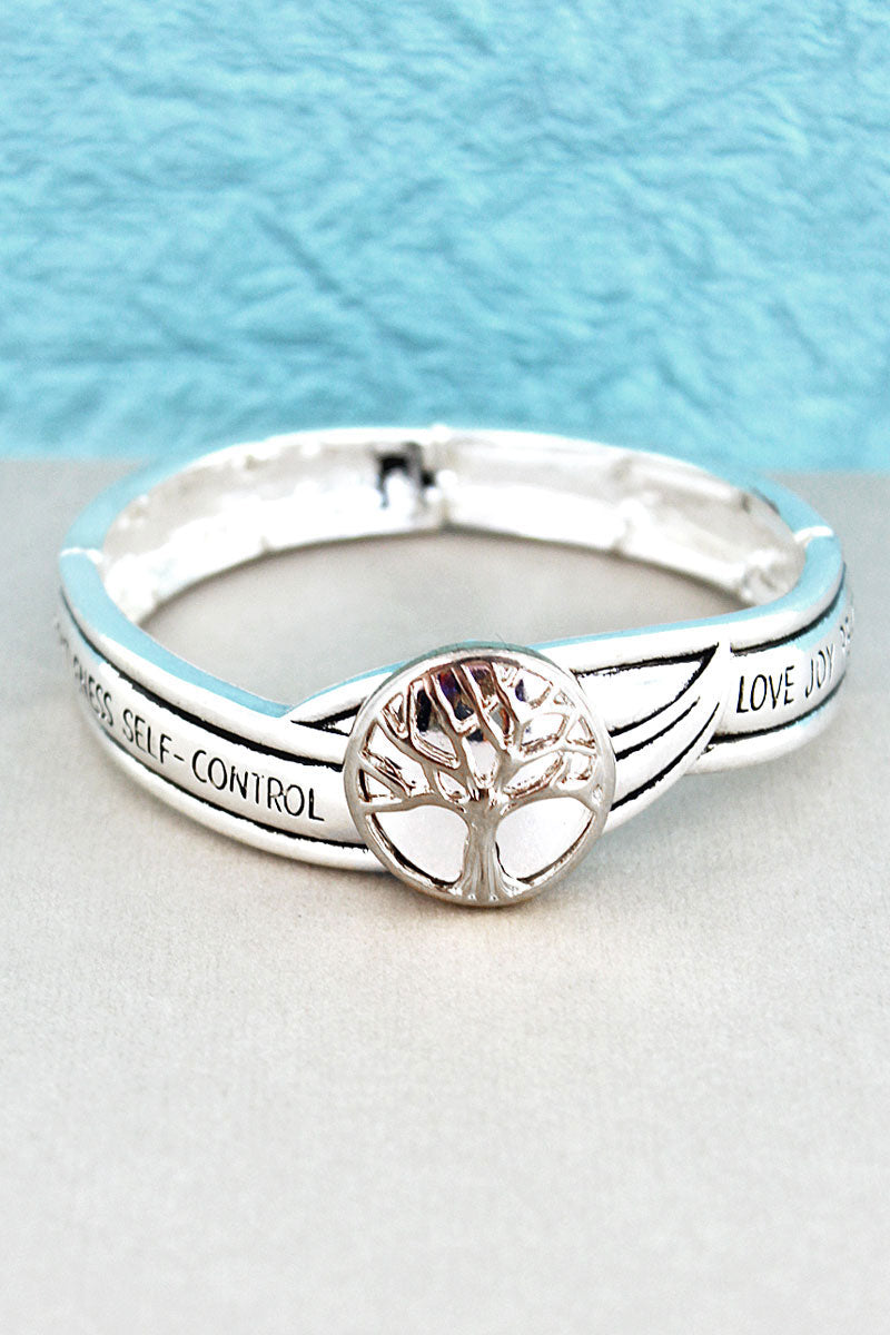 Silvertone Tree Of Life Fruit of the Spirit Stretch Bracelet
