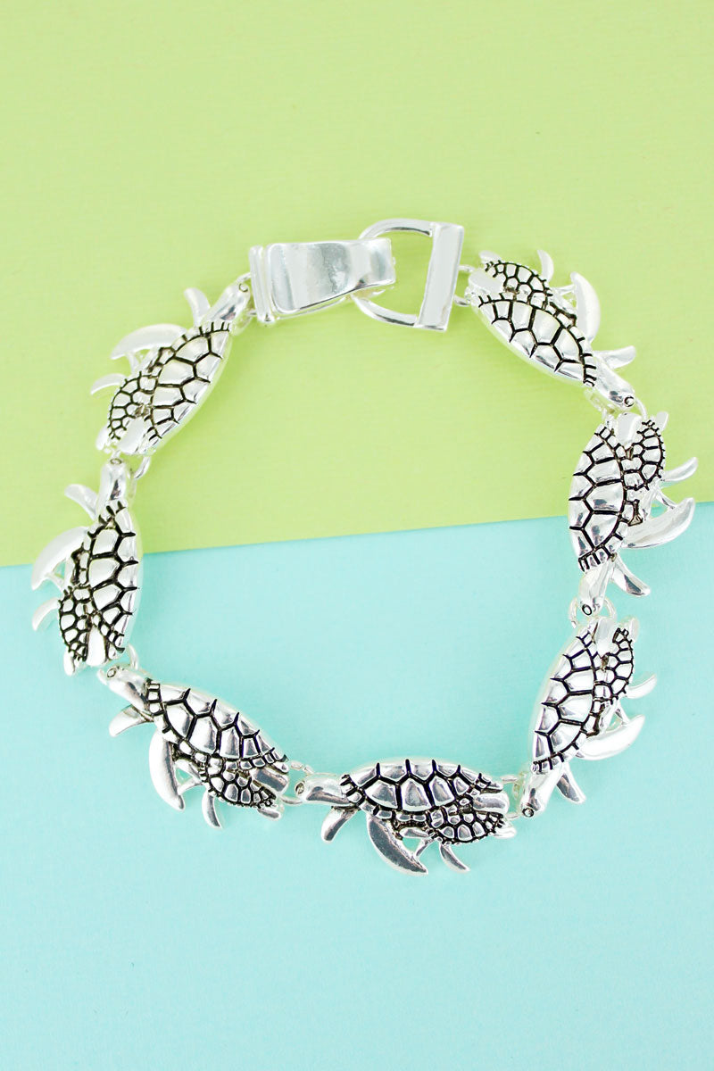 Silvertone Sea Turtle Magnetic Bracelet