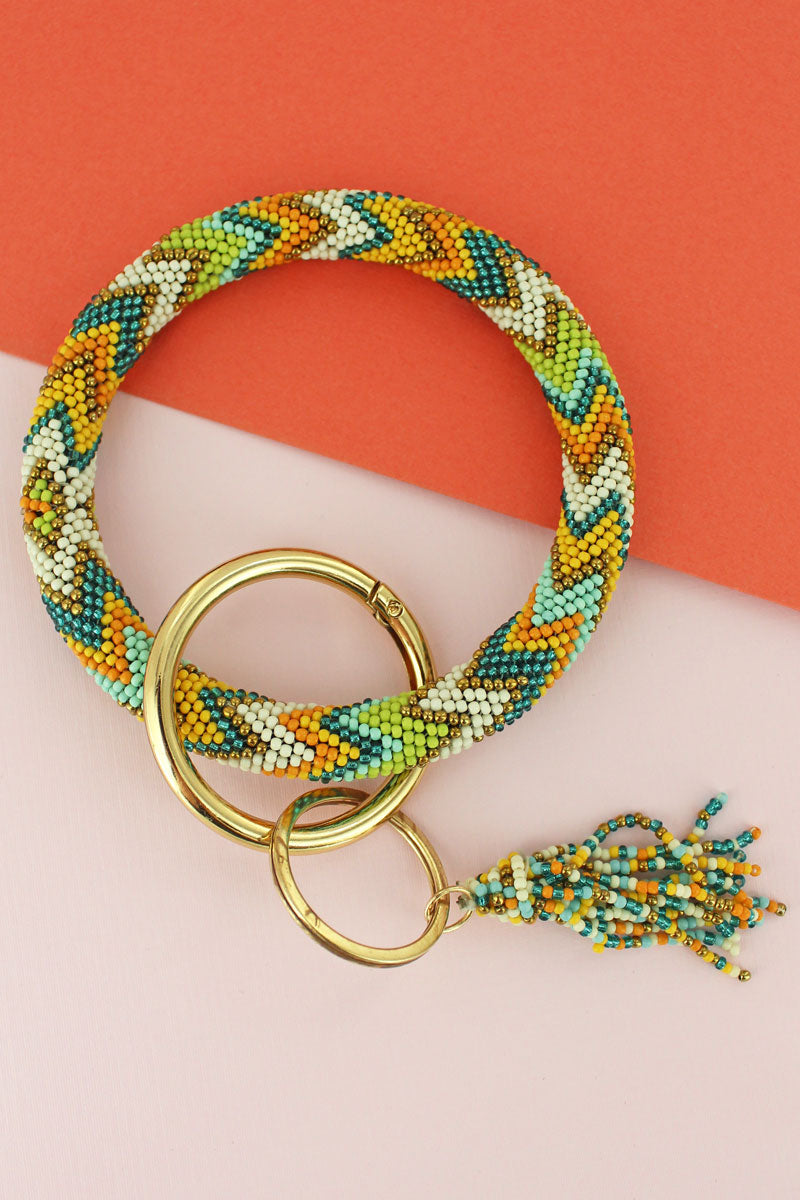 Painted Desert Seed Bead Tassel Bangle Keychain