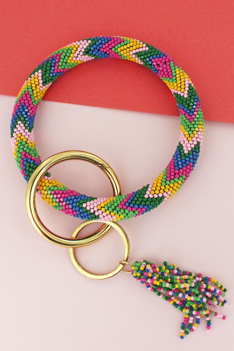 Pastel Skies Seed Bead Tassel Bangle Keychain