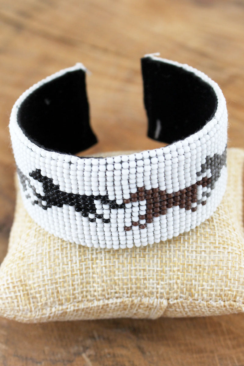 Horse White Seed Bead Cuff Bracelet