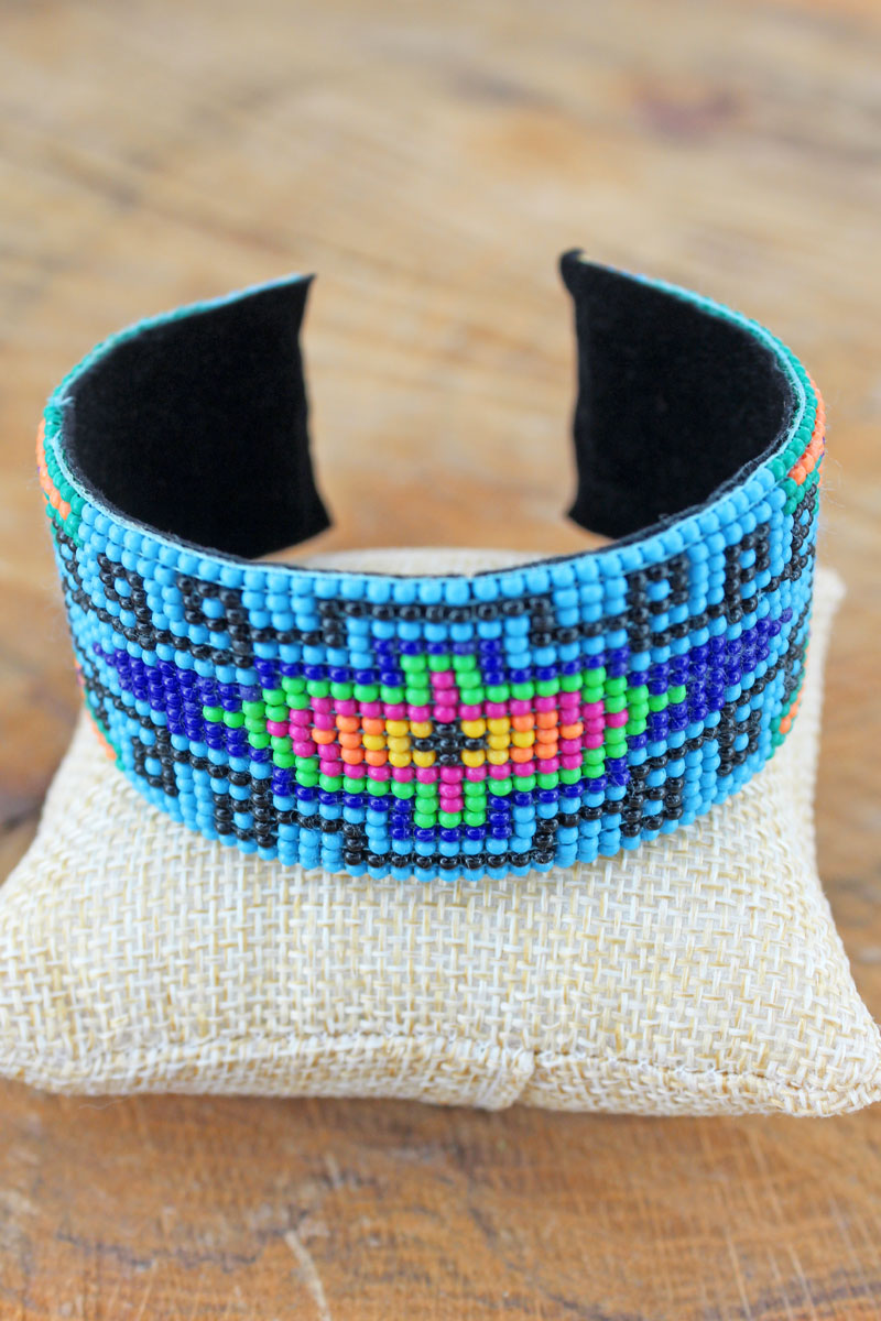 Pueblo Valley Turquoise Seed Bead Cuff Bracelet