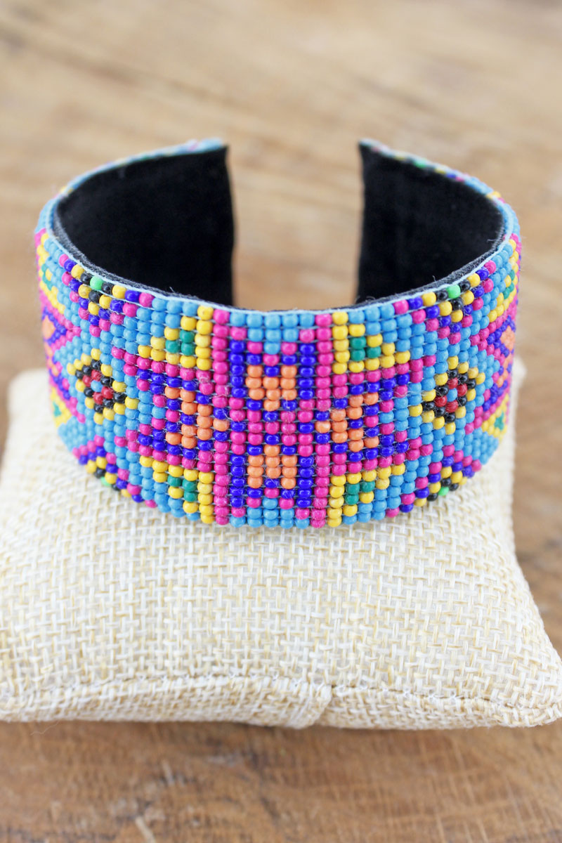Echo Canyon Turquoise Seed Bead Cuff Bracelet