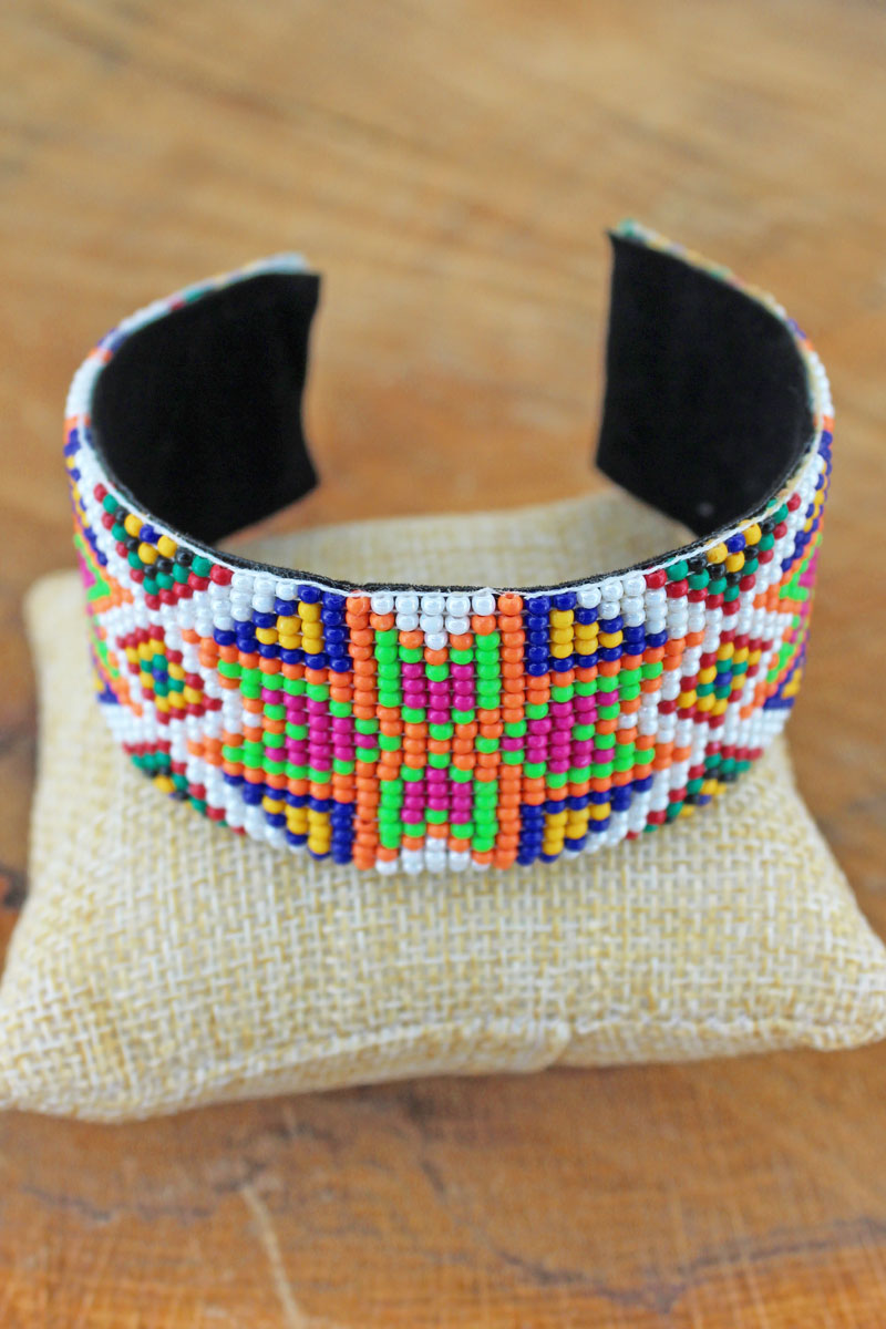 Echo Canyon White Seed Bead Cuff Bracelet