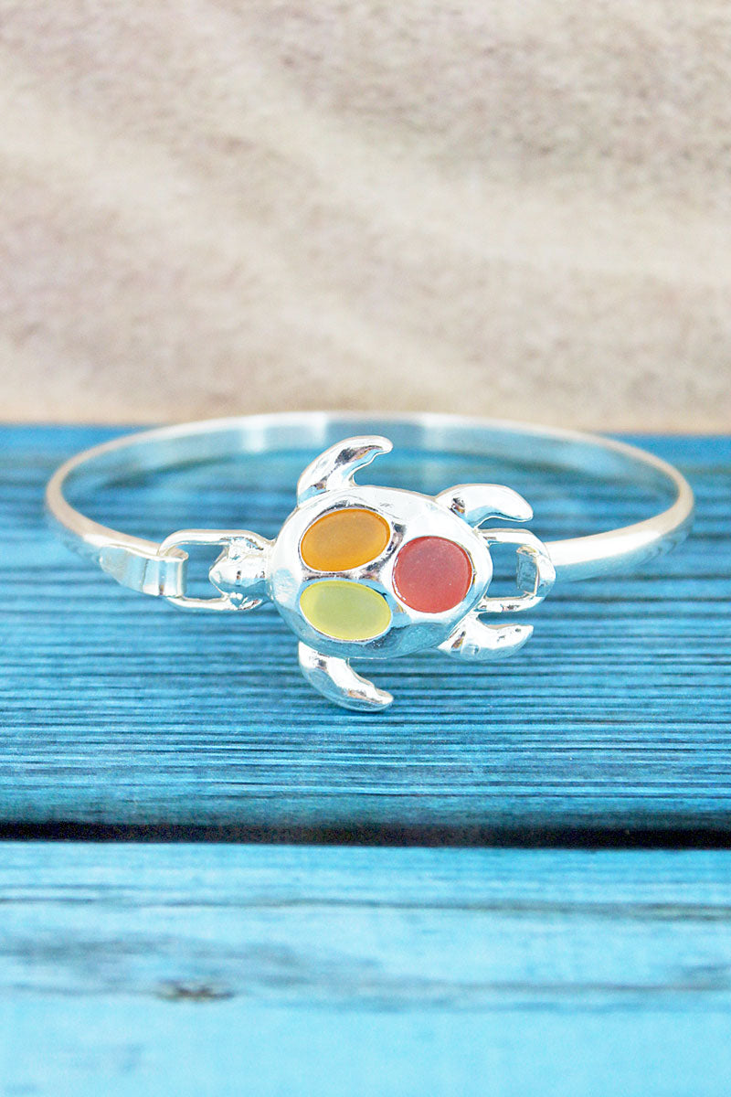 Pink Tri-Color Sea Glass Turtle Silvertone Bangle