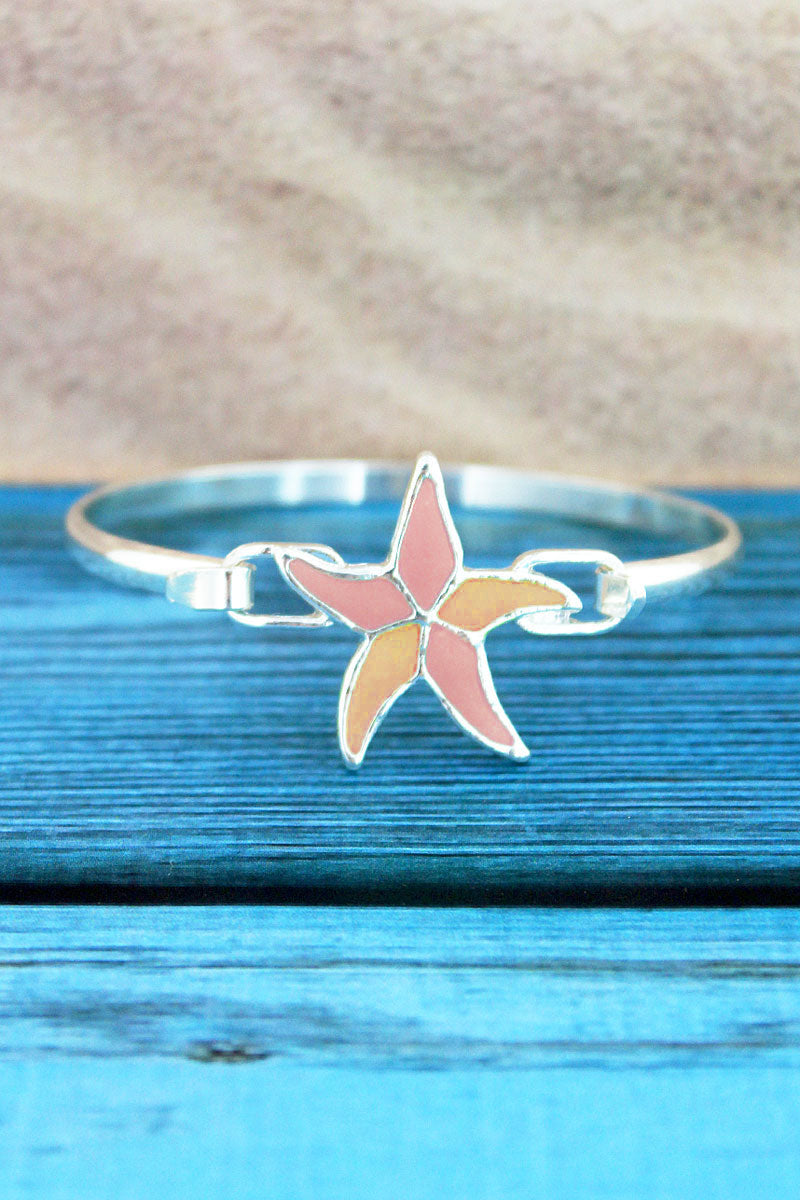 Pink and Orange Sea Glass Starfish Silvertone Bangle