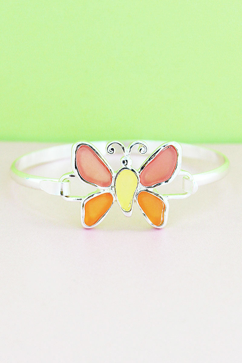 Pink Tri-Color Sea Glass Butterfly Silvertone Bangle