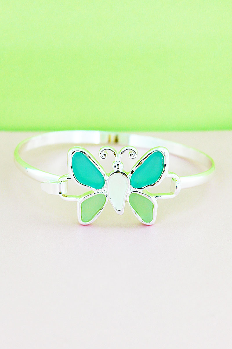 Turquoise Tri-Color Sea Glass Butterfly Silvertone Bangle