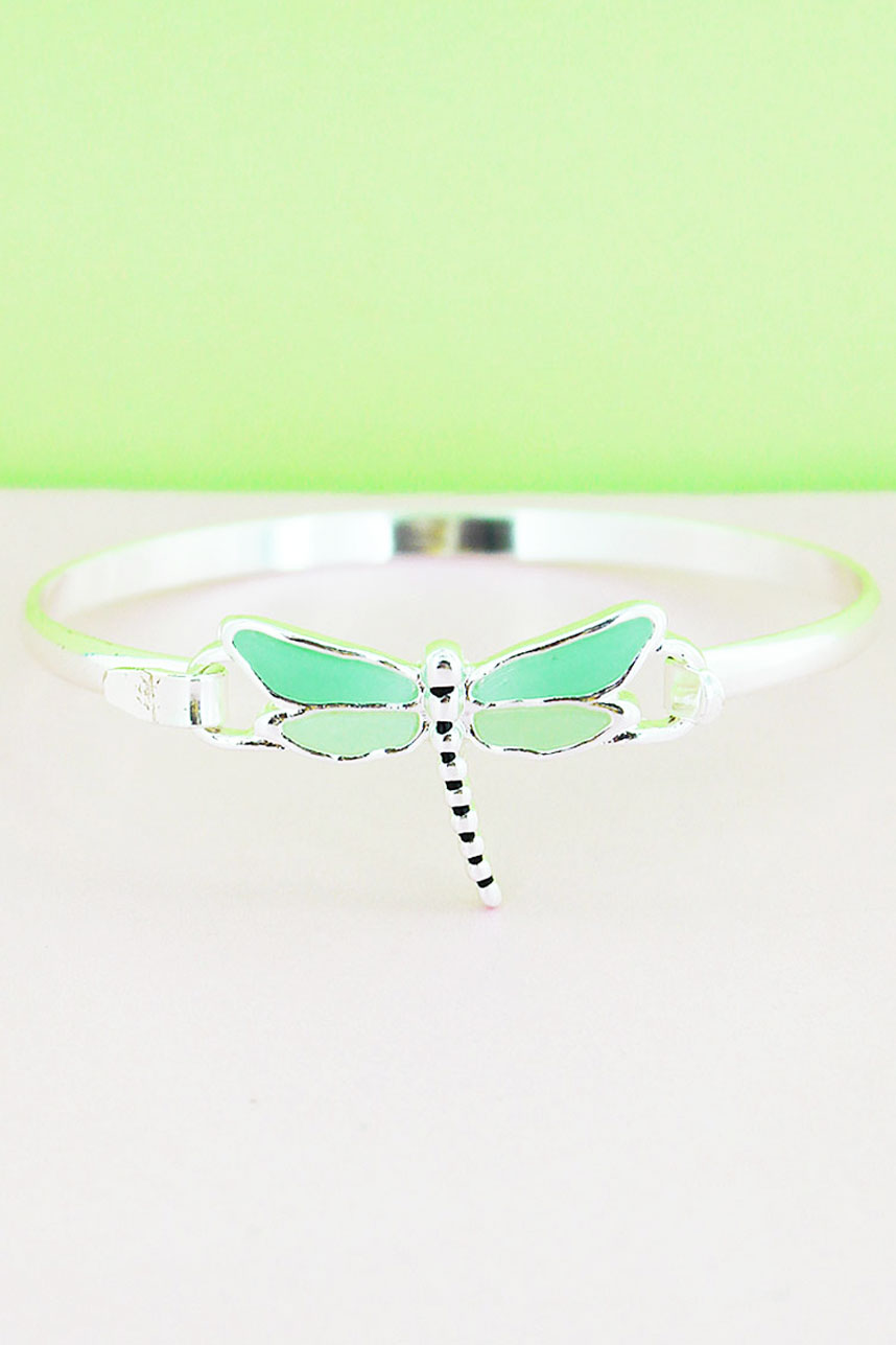 Turquoise and Pale Yellow Sea Glass Dragonfly Silvertone Bangle