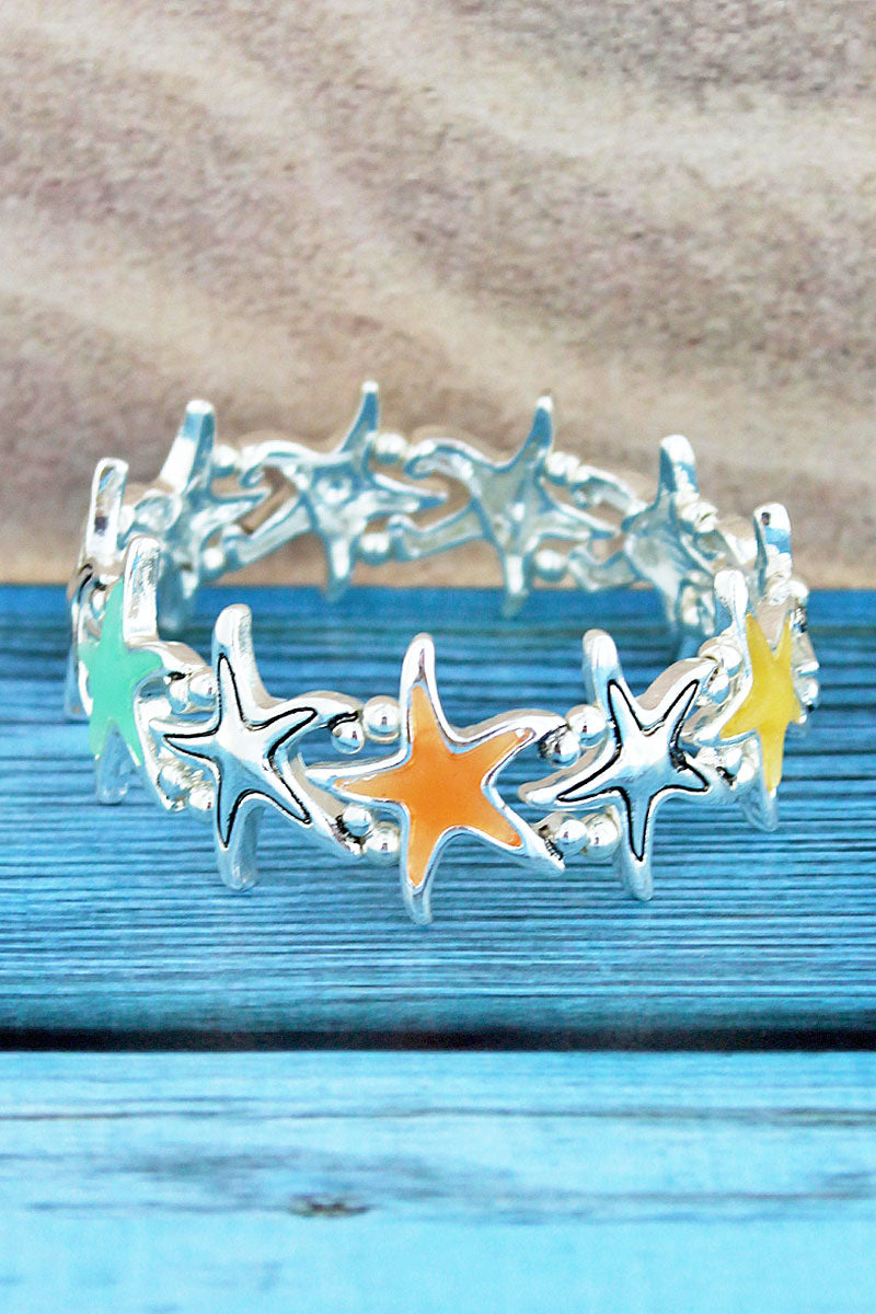 Silvertone and Multi-Color Sea Glass Starfish Bracelet