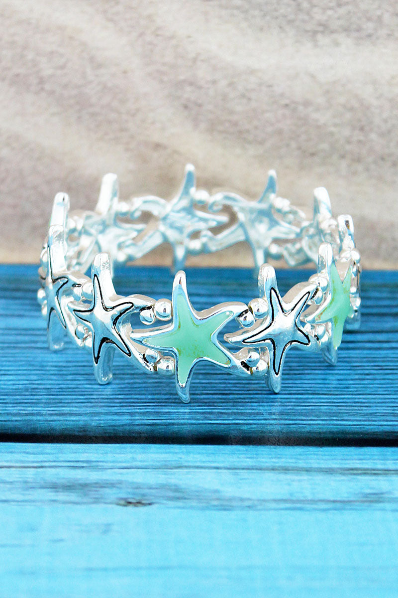 Silvertone and Turquoise Sea Glass Starfish Bracelet